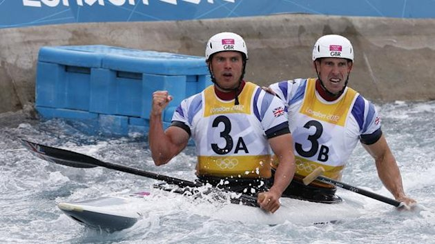 Britain's Tim Baillie and Etienne Stott react to winning the men's canoe double (C2) final at London 2012
