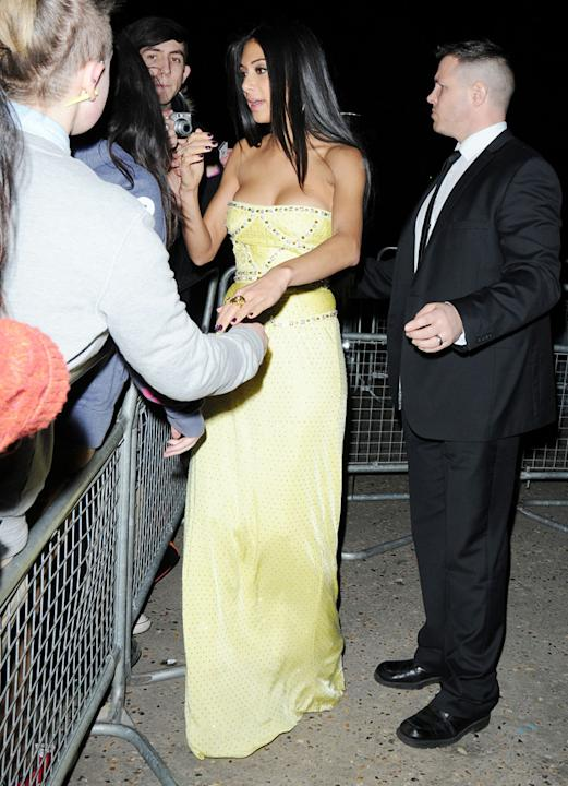 Nicole Scherzinger took time to greet fans at the Universal Island records party.