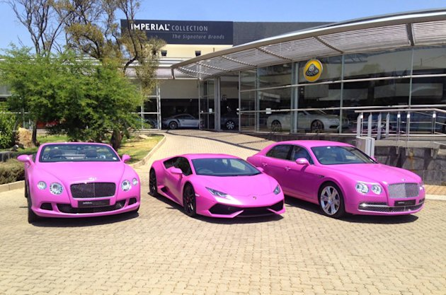 photos Bentley Lamborghini breast cancer pink