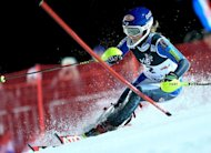 US Mikaela Shiffrin competes in the second run of the women's FIS slalom competition race in Sljeme, near capital Zagreb, on January 4, 2013. Shiffrin won the World Cup night slalom on Friday for her second victory of the season