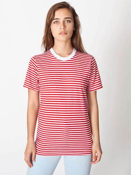 Unisex Poly-Cotton Stripe Crew Neck