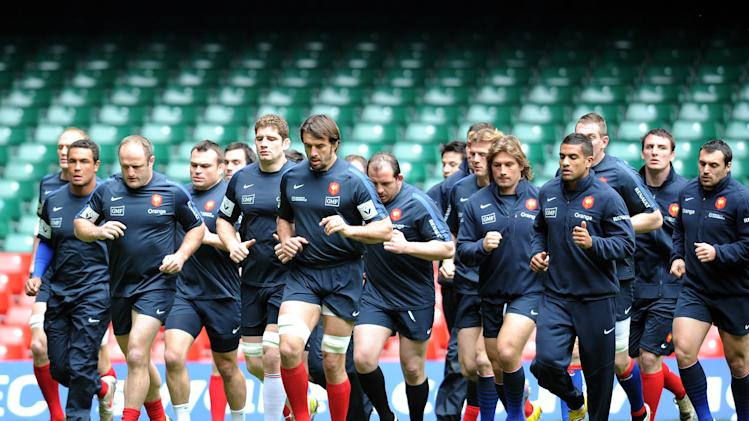 France's rugby union national team players take part in a training session on March 16, 2012 at the Millenium stadium in Cardiff, on the eve of their rugby union 6 Nations' match against Wales. AFP PHOTO / FRANCK FIFE (Photo credit should read FRANCK FIFE/AFP/Getty Images)