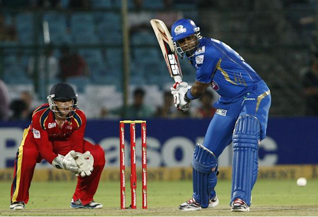 MI batsman Kieron Pollard in action during the match between Lions and Mumbai Indians at Sawai Mansingh Stadium, Jaipur on Sept. 27, 2013.(Photo: IANS)