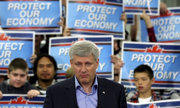 Conservative leader Stephen Harper pauses while speaking during a campaign event Sept. 13. (Reuters)