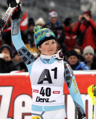 Mikaela Shiffrin, of the United States, celebrates her third place after completing an alpine ski, women's World Cup slalom, in Lienz, Austria, Thursday, Dec. 29, 2011. Mikaela Shiffrin, who started No. 40, posted the fastest time in the final run to finish 1.30 back in third for her best career result. (AP Photo/Giovanni Auletta)