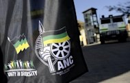 A flag displaying African National Congress' logos is pictured on July 15, 2011 in Johannesburg. The ANC, Ramphele argues, has failed to improve the lot of impoverished blacks in what remains one of the world's most unequal nations 19 years after the end of apartheid.