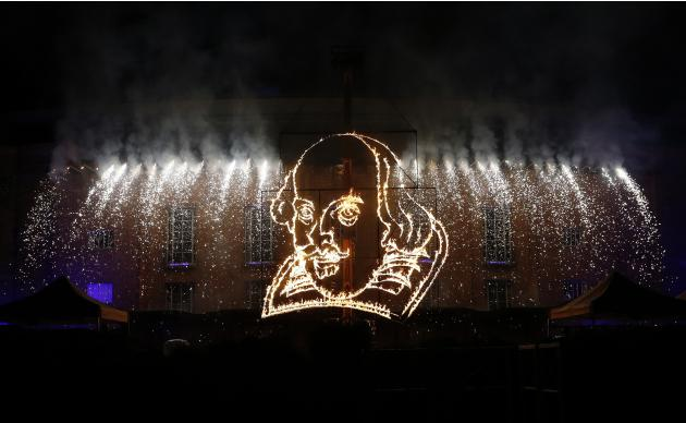 Flaming depiction of William Shakespeare is seen during a firework display at Royal Shakespeare Company marking 450th anniversary of Shakespeare's birth in Stratford-upon-Avon
