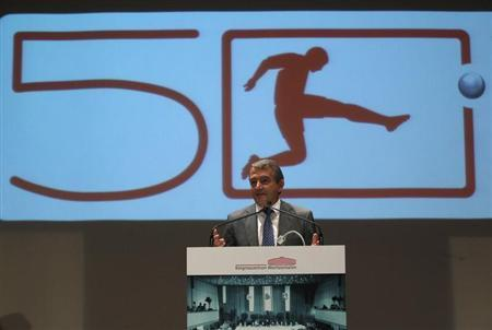 Niersbach, president of the German soccer association (DFB) gives a speech during a jubilee action commemorating the foundation of German Bundesliga in Dortmund