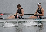 New Zealand's Nathan Cohen (right) and Joseph Sullivan celebrate after winning the gold medal in the men's double sculls final A of the rowing event during the London 2012 Olympic Games at Eton Dorney Rowing Centre, west of London. Cohen and Sullivan won gold in the men's double sculls at the London Olympics rowing regatta