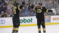 Boston Bruins left wing Loui Eriksson (21) and center Patrice Bergeron (37) (Reuters)