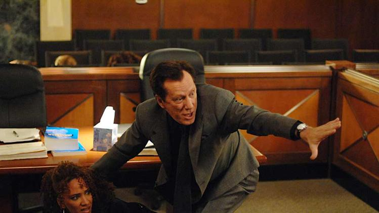 Sebastian,(James Woods) Raina,(Sophina Brown) the cold-blooded killer they're prosecuting and an entire courtroom of people are taken hostage by a gun-wielding defendant (Evan Handler) from another case, on Shark.