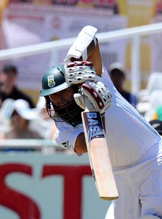 South Africa batsman Hashim Amla plays a shot during day one of the first Test match between South Africa and New Zealand in Cape Town at Newlands on January 2, 2013. New Zealand were dismissed for 45