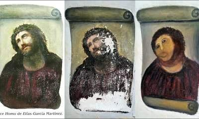 A woman in her 80s in Spain took it upon herself to restore a fresco in the Sanctuary of Mercy church in Borjanos. The original masterpiece dates back to the 19th century and is a Ecce Homo by Elias G