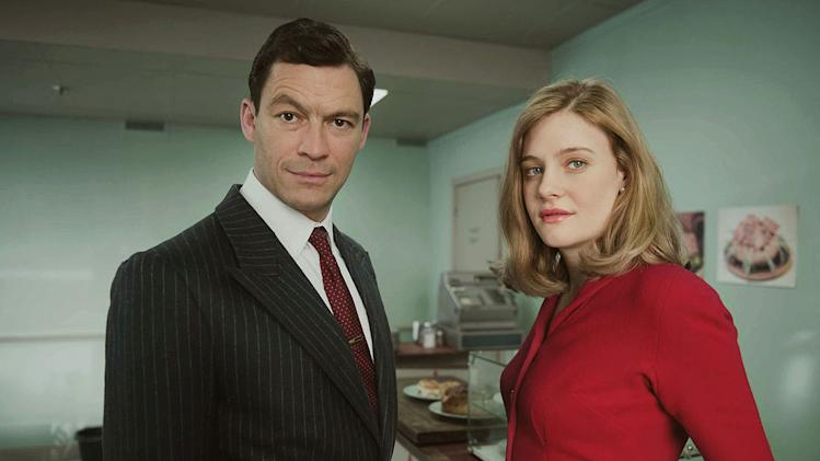 "Dominic West stars as Hector Madden and Romola Garai stars as Bel Rowley in ""The Hour."""