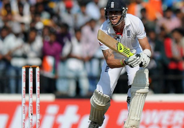 Kevin Pietersen bats on Day 1 of the fourth cricket Test match between India and England at Jamtha Stadium in Nagpur, Thursday, December 13 2012. (BCCI)