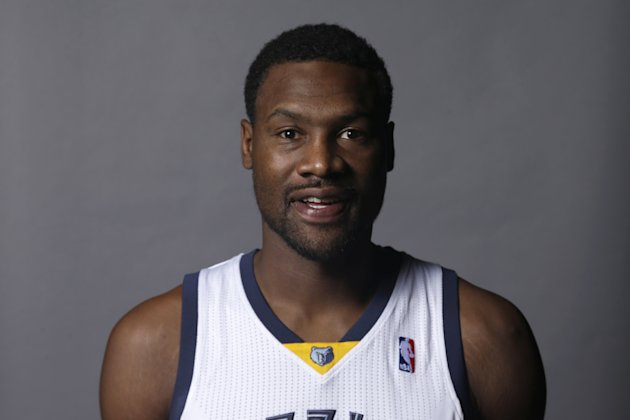 Memphis Grizzlies' Tony Allen poses at the team's NBA basketball media day in Memphis, Tenn., Monday, Sept. 30, 2013. (AP Photo/Danny Johnston)