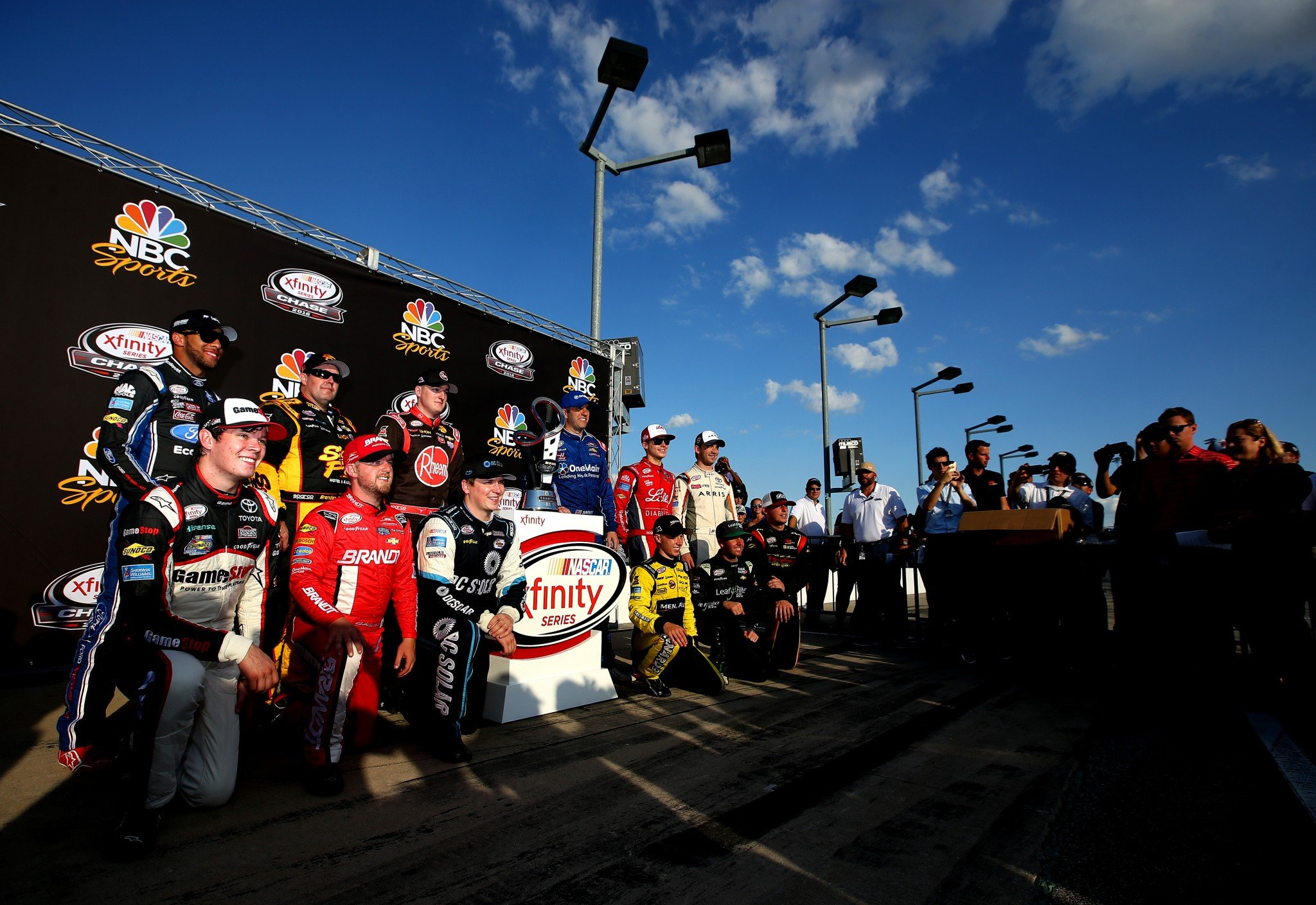 The 12 Xfinity Series Chase drivers pose for a picture after Chicago (Getty).