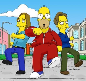 Homer (voiced by Dan Castellaneta) with guest stars Jackson Browne and Steve Buscemi in the episode 'Brake My Wife, Please.' Fox's The Simpsons