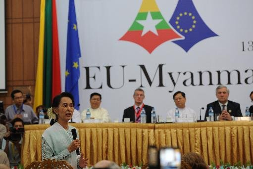 Myanmar opposition leader Aung San Suu Kyi talks during a session at the launch of EU-Myanmar Task Force, in Yangon, on November 14, 2013