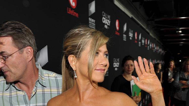 "IMAGE DISTRIBUTED FOR LIFETIME - Executive producer Jennifer Aniston arrives at Lifetime and Sony Pictures Television's premiere event  for ""Call Me Crazy: A Five Film"" at the Pacific Design Center on Tuesday, April 16, 2013 in West Hollywood, Calif. ""Call Me Crazy"" debuts on Saturday, April 20, 2013 at 8 PM on Lifetime. (Photo by John Shearer/Invision for Lifetime/AP Images)"