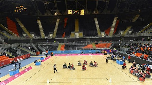 Wheelchair rugby at the Basketball Arena in the Olympic Park (Reuters)
