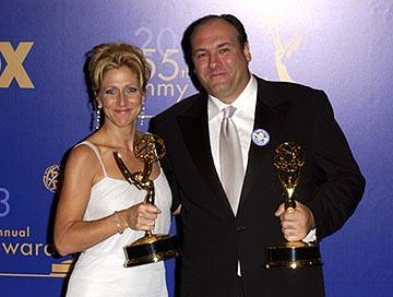 "Edie Falco and James Gandolfini Outstanding Actress and Actor in a Drama ""The Sopranos"" 55th Annual Emmy Awards - 9/21/2003"