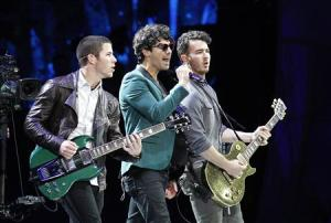 File photo of U.S. pop rock group Jonas Brothers performing during the 54th International Song Festival in Vina del Mar city