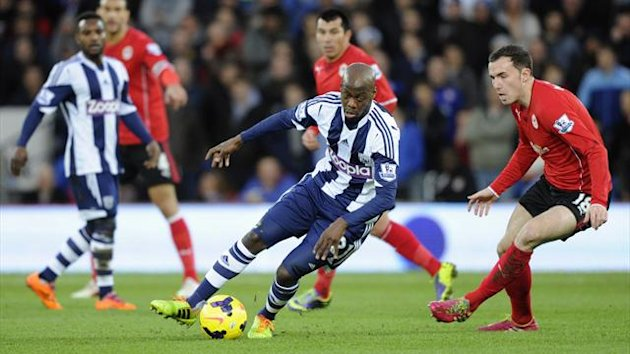 Youssouf Mulumbu on the ball for West Brom against Cardiff (Reuters)