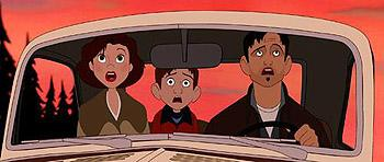 Annie Hughes (voiced by Jennifer Aniston ), Hogarth Hughes (voiced by Eli Marienthal ) and Dean (voiced by Harry Connick Jr. ) gape in horror at what the army has unleashed in Warner Brothers' The Iron Giant