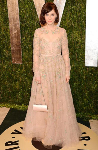Worst dressed: Zooey Deschanel New Girl Valentino Resort 2013  Vanity Fair Party Image © Rex
