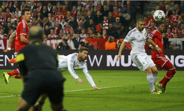 Real Madrid's Sergio Ramos scores his second goal against Bayern Munich during their Champions League semi-final second leg soccer match in Munich