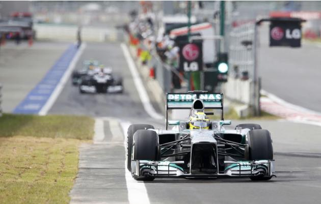 Mercedes Formula One driver Rosberg drives during the qualifying session for the Korean F1 Grand Prix in Yeongam