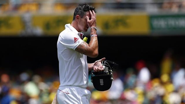 England's Kevin Pietersen reacts as he walks off the field after his dismissal (Reuters)