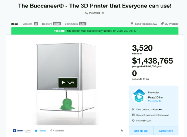 Singapore Kickstarter Hero Pirate3D Sinks As It Fell Short On Meeting Expectations
