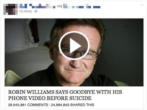 Watch Out: This Facebook Scam Exploits Robin Williams' Death for Clicks