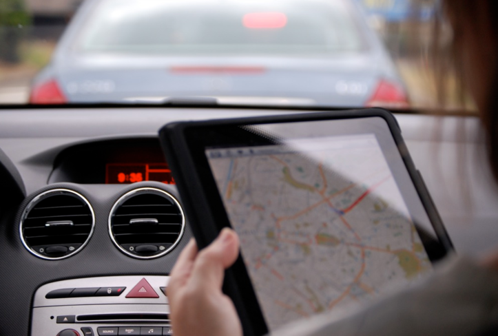 navigating a map with a tablet