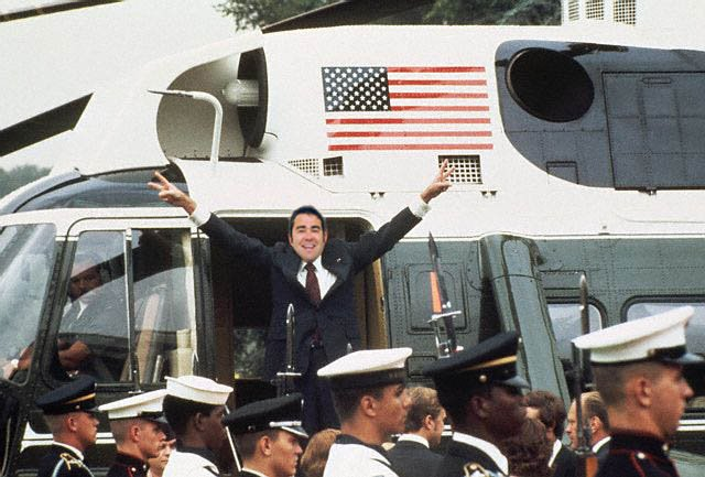 Richard M. Nixon Boards the White House Helicopter August 9, 1974.