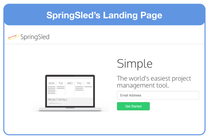 SpringSled's Simple and Effective Landing Page