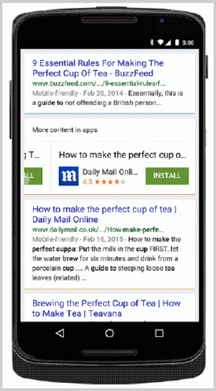 Example of apps appearing in a search tab