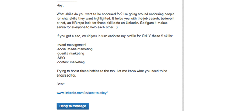 LinkedIn Message for Endorsement