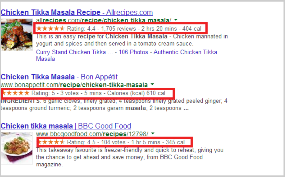 Additional information next to reviews in Google search