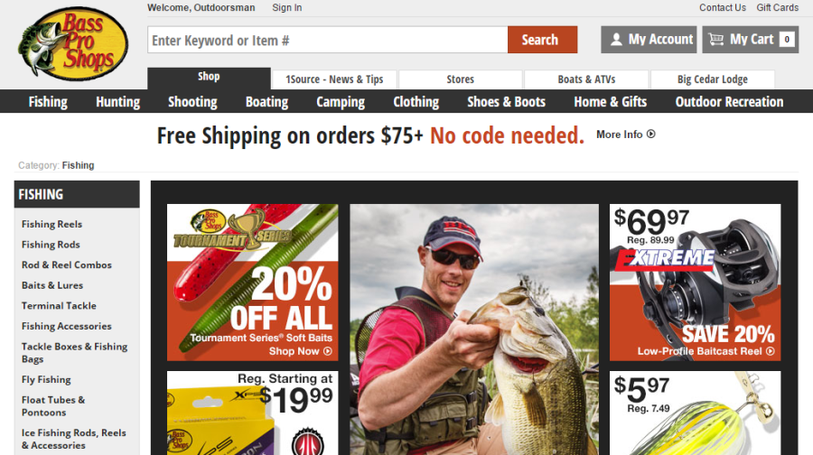 Landing page relevance Bass Pro landing page