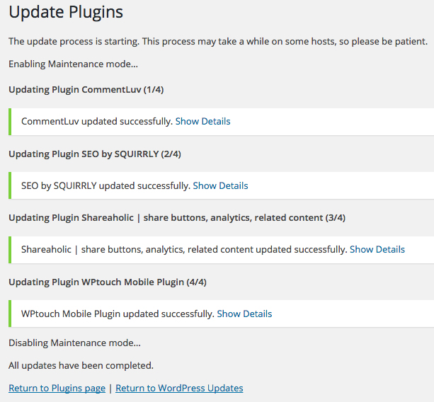 Plugins update completed