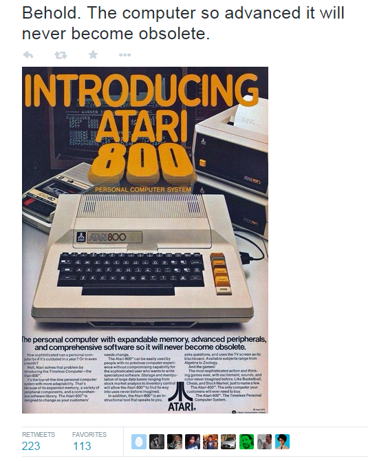 Get more retweets Atari obsolete ad