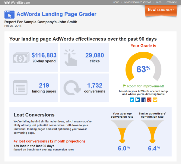 Online marketing tools WordStream Landing Page Grader