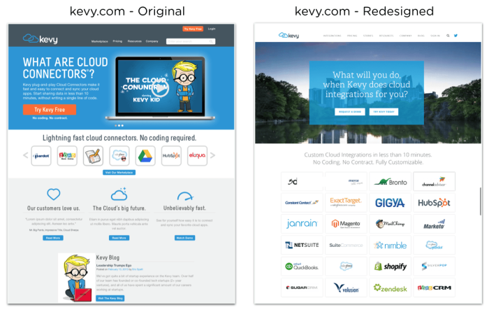 Kevy website redesign before and after