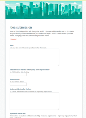 A/B spplit testing idea submission form