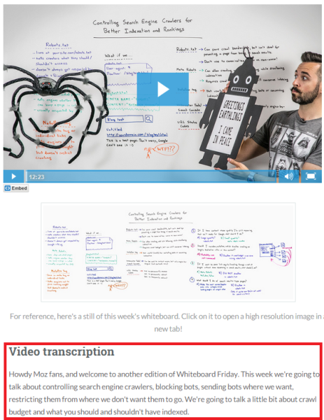 WhiteBoardFriday - Moz 8 Ways to Use Transcripts, Captions & Subtitles to Empower your Video SEO