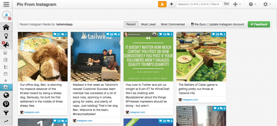 Cross promote your Instagram account on Pinterest using Tailwind
