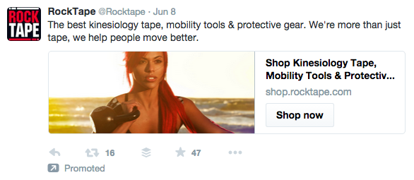 Rocktape promoted tweet